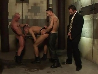 Four men fucking hard in dirty toilet
