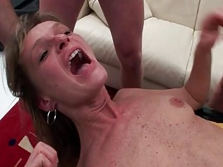Nasty granny gets her rear demolished by two young guys