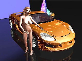 3D Readhead with her sport car