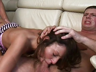 confused girl by three male fucked and processed with a champagne bottle