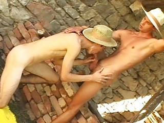 Nasty gay cowboys lick and suck each others hard rod outdoor