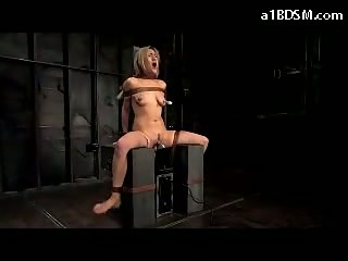 Girl Tied To Timber Sitting On Fucking Machine Nipples Vacumed Clit Stimulated With Vibrator In The Dungeon