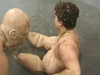 Horny masked man molest busty lady