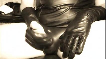 Jerk Off On Leather Gloves