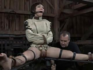 Hard spanking for masked babe