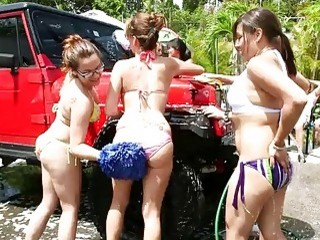 Naughty teens loves college carwash orgy
