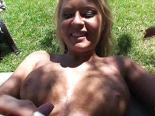 Hot and busty blonde amateur gets fucked outdoors