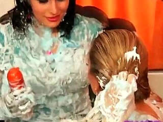 Sexy busty babes with shaving cream