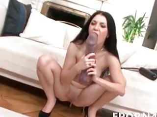 Horny brunette milf dildoing her