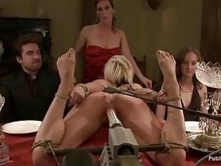 Blonde slave whore likes being tossed around like yesterdays garbage