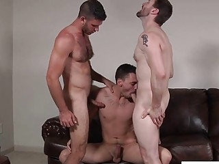 Sexy hunk Dennis West in hardcore threesome fuck with Asher Hawk and Jimmy Fanz