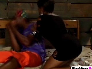 Cougar black girl feeding her mature pussy with young massive ebony dick