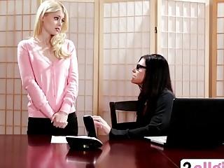 Sexy brunette naughty boss fucked innocent blonde secretary