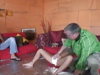 Super star Eva Angelina gets messy making plaster cast of pussy