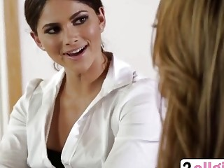 Glamour sexy lesbian secretaries sizzling face sitting pussy eating