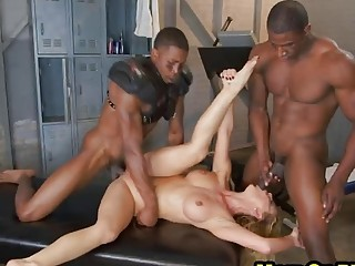 Slim blonde milf shaking pussy fingered orgasms by BBC