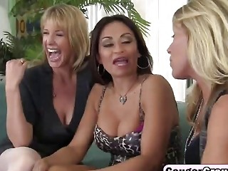 Busty cougars sharing long dong doggy foursome
