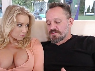 Blonde whore  Katie Morgan and her cuck husband have fun