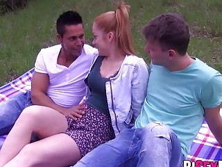 Hot babe fucked hard by this two bisexual guys in threesome