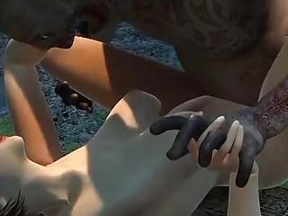 Fucking Zombie in weird Dark Cartoon fantasy