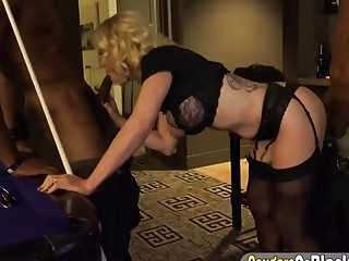 Blonde cougar provoked group of black guys while playing billiards used her mature pussy gangbang