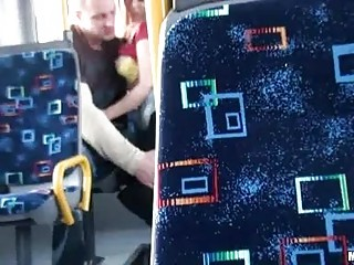 Horny couple has sex action in public vehicle