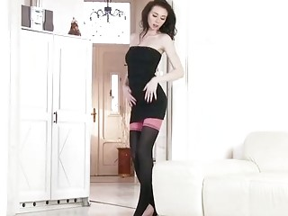 Banging brunette teasing in stockings
