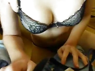 Polish pale cutie with bangs rides on a thick cock