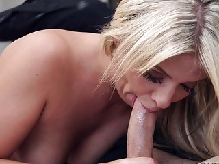 Blonde slut takes a hard cock up her tiny asshole
