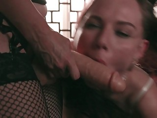 Lezdom mistress toys and molests her submissive lesbian slave whore