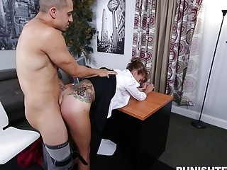Secretary gives a blowjob and gets fucked in the office