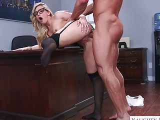 Office babe with glasses fucked in both of her holes