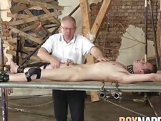 Submissive twink enjoys it when his master jerks him off