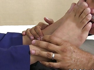 Feet worshiped businessman enjoys every moment being sucked