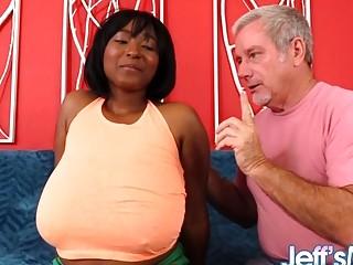 Ebony BBW with Monster Milkers Marie Leone Pleasures a White Grandpa