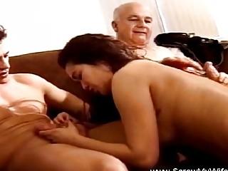Threesome For Brunette Swinger Wife