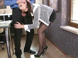 Brunette in her office sucks off and fucks her boss