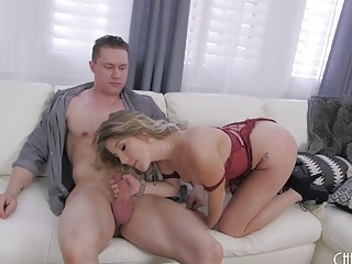 Gorgeous blonde rides cock and gets drilled from behind hard