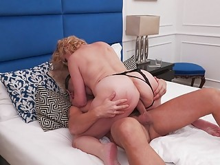 Blonde milf fucked in her tight anus after heavy fingering