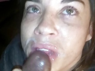 Cheap slut deepthroats a huge black boner and tastes cum