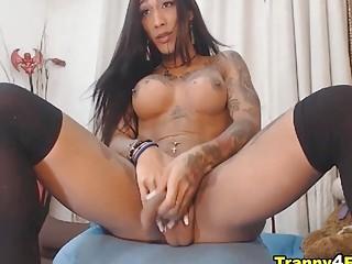 Tattooed Shemale Slut Gets So Wild on Show