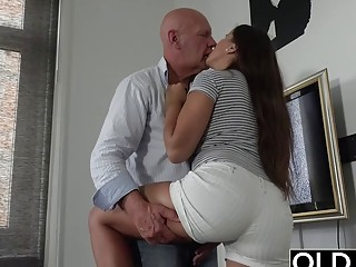 Old and young sex starts sensual and ends with hot